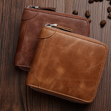 Men RFID Antimagnetic Genuine Leather Retro Zipper Trifold Wallet