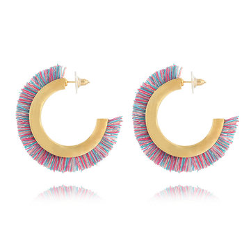 Bohemian Colorful Semicircle C Shape Tassel Earrings Punk Hoop Earring for Women Female Gift