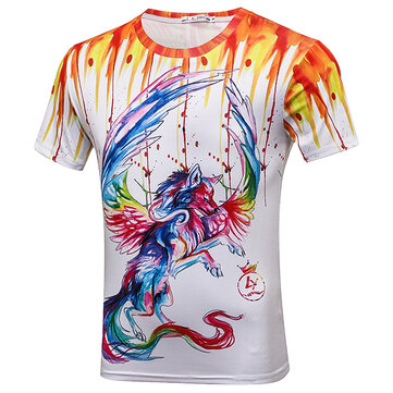 Summer Men's Fashion Colorful Patterned Printed T-shirt Casual O-neck Short Sleeves Tees