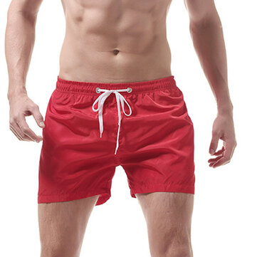 Mens Quick Drying Pure Color Fitness Sport Summer Board Beach Shorts