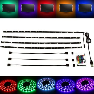 ARILUX® 4*50CM 5050 SMD RGB USB Waterproof LED Strip TV Backlight + 24 Keys Remote Control DC5V