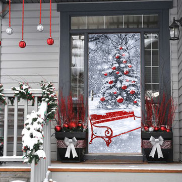 Christmas Tree 2017 Funlife3D Door Sticker Christmas Tree Creative Wall Sticker Wooden Door Refurbished