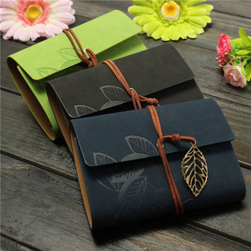 Embossed PU Leather Cover Leaf Pattern String Journal Blank Notebook
