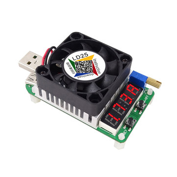 RUIDENG LD25 Electronic Load Resistor USB Interface Discharge Battery Test LED Display Fan Adjustable Current Voltage 25W