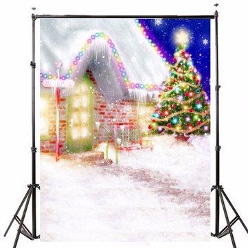 1.5x2.1m写真の背景ビニールファブリッククリスマスハウスツリーLEDライト