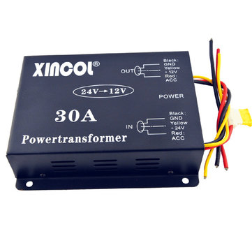 Vehicle Car DC 24V to 12V 30A Power Supply Transformer Converter with Fan Regulation