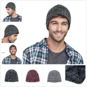 Men Women Winter Double Layers Earmuffs Knit Beanie Cap