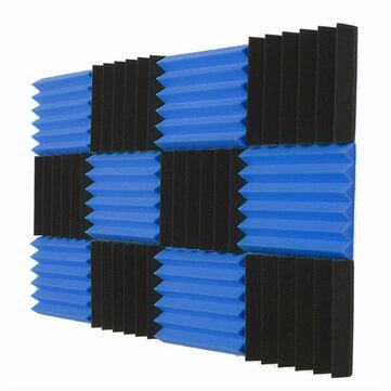 """12 Pcs Black Blue Pyramid Acoustic Soundproofing Foam Tile Studio Panel 2""""x12""""x12"""""""