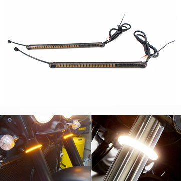 Motorcycle LED 39mm 41mm Fork Turn Signal Light Strip Kit w/ Smoked Lens