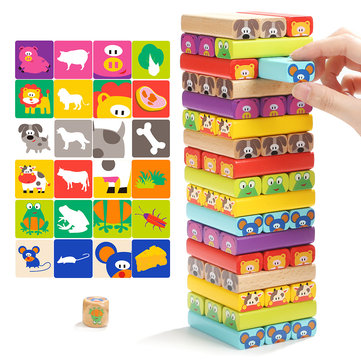 TopBright 120314 Wooden Tower Domino Building Blocks Toys Animal 8.5*8.8*28.5CM Christmas Gift