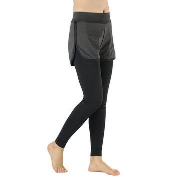 ARSUXEO Women Two-Piece Running Pants Compression Tights Exercise Yoga Leggings