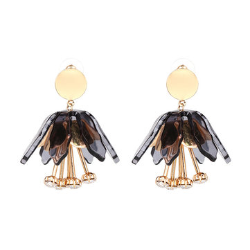 Statement Dangle Earring Rhinestone Flower Tassel Piercing Chandelier Ear Drop for Women