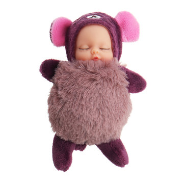 10cm Hot Cute Mini Dolls Key Chain Toy Cartoon Sleeping Baby Plush Pendant Model Gift For Ch