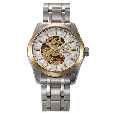 Gucamel GT06 Skeleton Stainless Steel Band Mechanical Men Watch