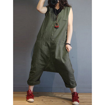 Women Sleeveless V Neck Loose Harem Jumpsuit Overalls