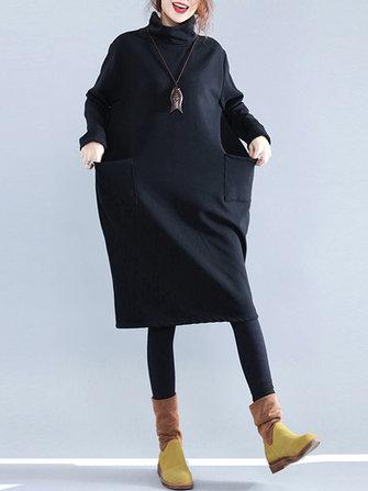 캐주얼 여성 퓨어 컬러 터틀넥 포켓 긴 소매 드레스