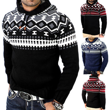 Mens Printing Christmas Sweaters Hoodies Patchwork Slim Fit Long Sleeve Casual Sweatshirts