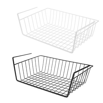 Iron Rack Hanging Shelf Kitchen Free Punch Storage Basket Portable Cabinets Kitchen Storage Rack Chopping Holder Space Saver Organizer Cupboard
