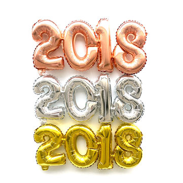 2018 Number Foil Balloon Gold Silver Happy New Year Room Party Decoration