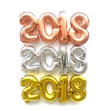2018 Number Foil Globo Gold Silver Happy New Year Party Decoración de fiesta