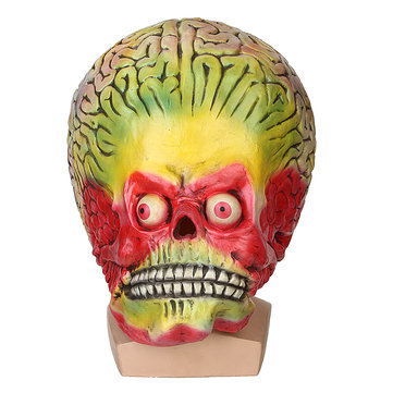 Halloween Cosplay Alien Skull Martian Mask Scary Brain Party Costume Props