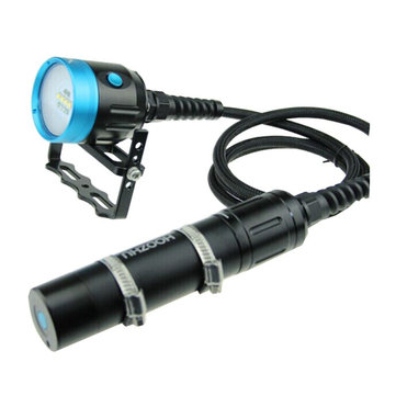 HOOZHU HV33 Underwater 120m 10x LEDs 4000LM Dual Swicth 2-group Modes UV Diving Light Dive Flashlight Suit with 26650 & Charger & Bracket