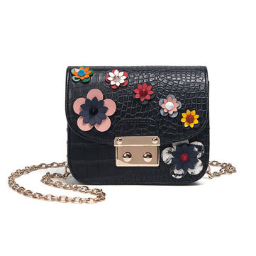 Women Mini Floral Shoulder Bag PU Leather Chain Bag Phone Case