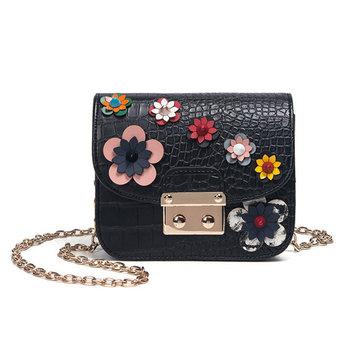 Women Mini Floral Shoulder Bag PU Leather Chain Bag Phone Case