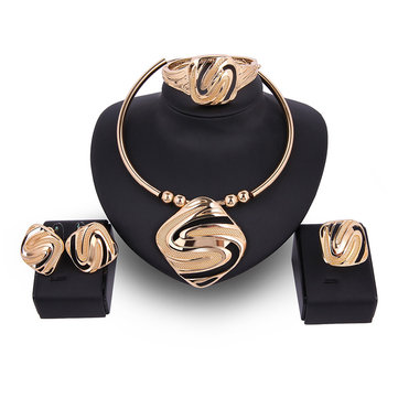 Luxury Alloy Square S-shape Necklace Earrings Ring Bracelet Jewelry Set Wholesale