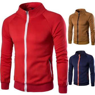 Mens Classic Casual Zipper Stand Collar Cardigan Fashion Casual Sweater