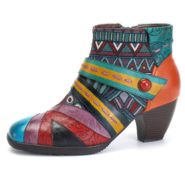 SOCOFY Bohemian Stitching Pattern Zipper Ankle Leather Boots Shoes