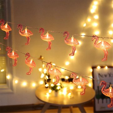 Battery Operated 10LEDs Flamingo Warm White Fairy String Light for Garden Party Christmas