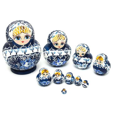 Russian Nesting Dolls 10pcs Set Blue Hand Painted