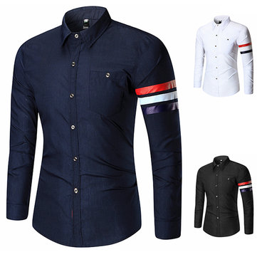 Mens Fashion Spring Printing Fit Designer Shirt Turn Down Collar Long Sleeve Casual Shirt