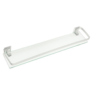 60cm Armoured Glass Shower Caddy Bathroom Shelf Rectangle Wall ...