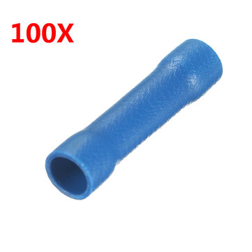 100Pcs Nylon Blue Insulated Electrical Crimp Butt Wire Connector Terminals