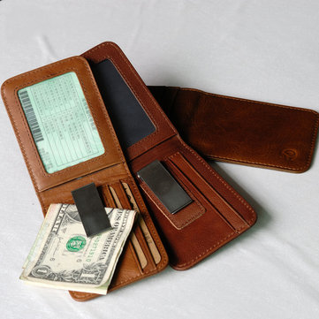 Slim Genuine Leather Money Clip Vintage Billfold Wallet for Men