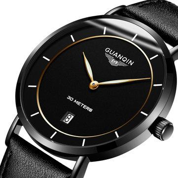 관신GS19070클래식럭셔리심플디자인 가죽 시계 밴드 패션 남자 석영 손목 시계
