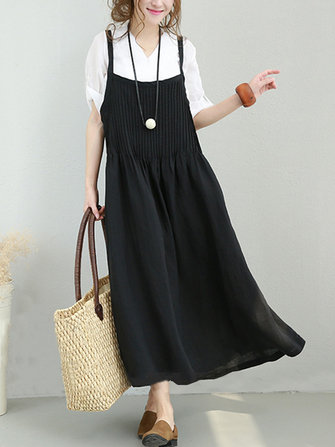 Casual Women Loose Organ Fold Strap Dress