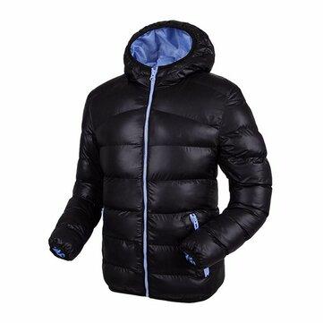 Uomini inverno più spessi con cappuccio antivento caldo di moda di contrasto di colore del rivestimento Giacca imbottita