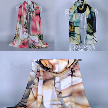 Women Ladies Long Soft Silk Chiffon Scarf Wrap Shawl Beach Scarves