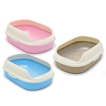 Large 55×38.5×20cm Plastic Cat Kitten Pet Litter Box Sifting Tray Toilet Semi-closed Pan Scoop Bowl