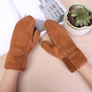 Women Outdoor Thick Fur Plush Warm Gloves
