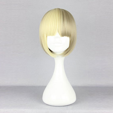 Harajuku Elegant Gold Full Bang Short Synthetic Fiber High Temperature Cosplay Wig Anime Costume Hair