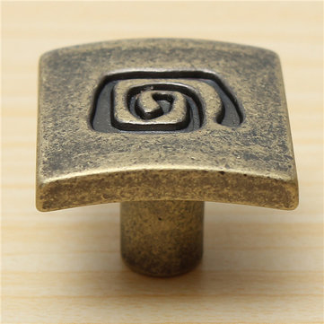 Cabinet Pull Knob Handle Zinc Alloy Square Antique Bronze Hardware With Screw