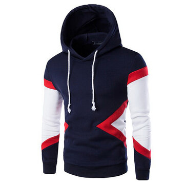 Mens Casual Stitching Hoodies Spell Color Slim Fit Cotton Pullover Sweatshirt