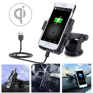 2 in 1 5V 2A Qi Wireless Car Charger Dock Mount Holder For Samsung Xiaomi Huawei