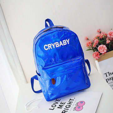 Women Reflective Laser Letter Personality Handbag Backpack