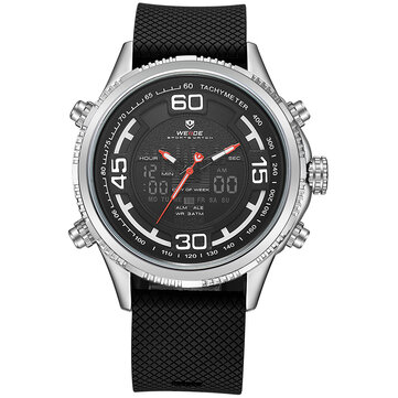 WEIDE 6306 Cosy Silicone Calendar Dual Display Digital Watch