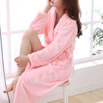 Warm Winter Longer Sleeve Thicken Women Robes Nightgown